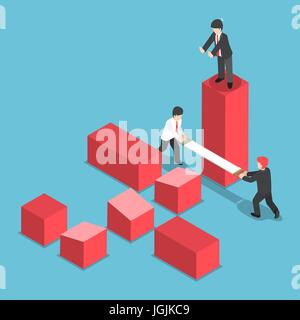 Flat 3d Isometric Businessman Trying to Destroy Business of His Rival, Eliminate Business Rival and Competition - Stock Photo