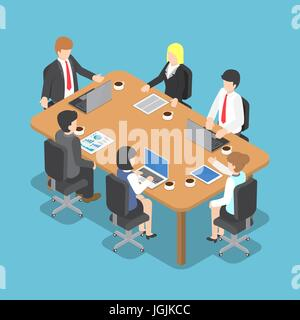 Flat 3d Isometric Business People Meeting, Teamwork and Business Conference Concept - Stock Photo