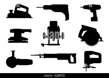 Electric tools black silhouettes - Stock Photo
