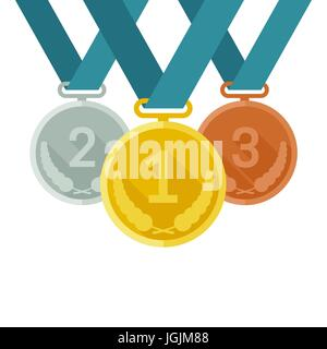 Medals from gold, silver and bronze - Stock Photo