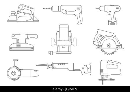 Electric tools line icons. - Stock Photo