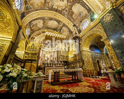 The sanctuary of St. John's Co-Cathedral at the capital Valletta / Malta - Stock Photo