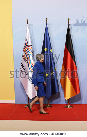 Hamburg, Germany. 7th Jul, 2017. Theresa May, prime minister of Great Britain at the G20 summit in Hamburg, Germany. - Stock Photo