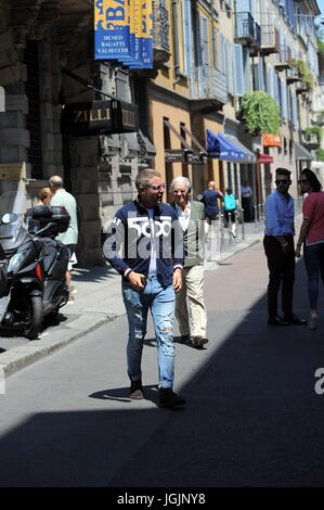 Milan, Lapo Elkann goes to lunch in downtown with Fiat500 anniversary sweater Lapo Elkann arrives in the center - Stock Photo