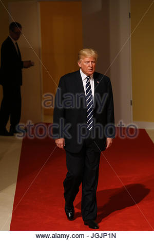 Hamburg, Germany. 7th Jul, 2017. Donald Trump, the president of the United States of America at the G20 summit in - Stock Photo