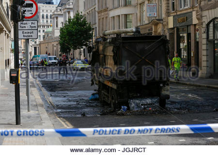 London, UK. 7th Jul, 2017. Road sweeper burned down at lunch time in Gresham street just outside of Guildhall City - Stock Photo