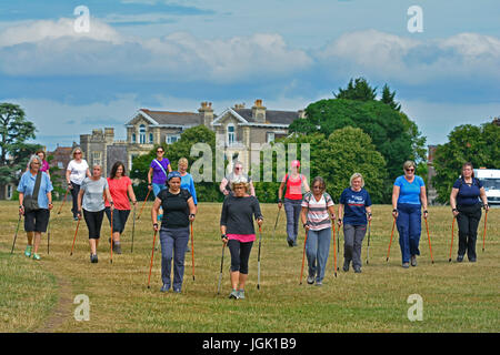 Bristol, UK. 8th July, 2017. UK Weather: Nordic Walking for fitness and good health. Sunny day in Bristol. Credit: - Stock Photo