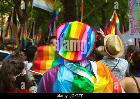 Bristol, UK. 8th July, 2017. Preparations for the Bristol Pride Parade. Credit: Elizabeth Nunn/Alamy Live News. - Stock Photo