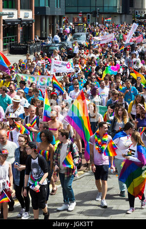 Bristol, UK. 8th July, 2017. Participants in a parade through the city center as part of the Bristol Pride Festival. - Stock Photo