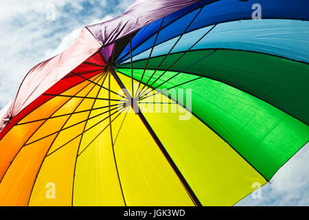 Bristol, UK. 8th July, 2017. Rainbow umbrella being carried at the Bristol Pride Festival. Credit: Elizabeth Nunn/Alamy - Stock Photo