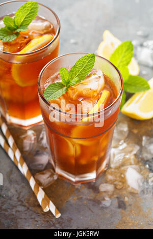 Traditional iced tea with lemon - Stock Photo