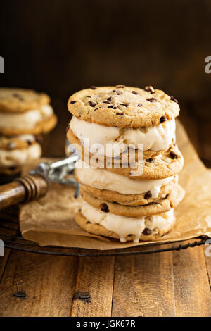Ice cream sandwiches with chocolate chip cookies - Stock Photo