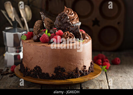 Gourmet chocolate cake with decorations - Stock Photo