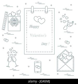 Cute vector illustration: calendar with Valentine's Day, gifts, postal envelope, two stemware, smartphone, birds - Stock Photo