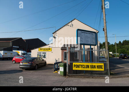 Pontyclun Van Hire at the East Side Cambrian Industrial Estate on June 19, 2017 in Pontyclun, Wales. A van that - Stock Photo