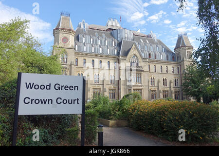 A front view of Wood Green Crown Court in North London UK - Stock Photo