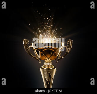 Champion Golden Trophy Isolated On Black Background Concept Of Success And Achievement