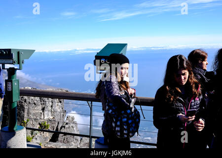 Cape Town,South Africa. Table Mountain one of the 7 natural wonders of the world. Tourists appreciating the view - Stock Photo