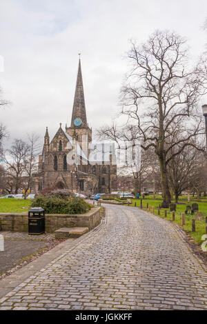Pathway leading up to St.Cuthberts church in Darlington, England,UK - Stock Photo