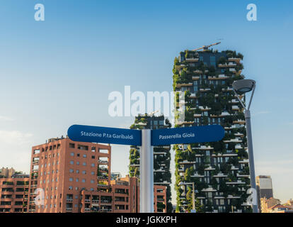 Bosco Verticale, vertical forest building, Porta nuova district, Milan, Lombardy, Italy, Europe - Stock Photo