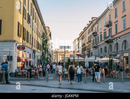 Milan, Italy - July 7th, 2017: Corso Como pedestrian area in Milan, Italy, a popular place to enjoy the famous Italian - Stock Photo