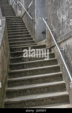 Steps at Newquay harbour in Cornwall - metaphor for many concepts relating to 'upwards', getting on the property - Stock Photo