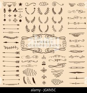 Huge pack or set engraved hand drawn in old or antique sketch style, vintage flourishes calligraphic design elements - Stock Photo