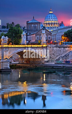 The dome of St Peter's Basilica and Ponte Vittorio Emanuele II, as seen from Ponte Sant'Angelo, Rome, Italy. - Stock Photo