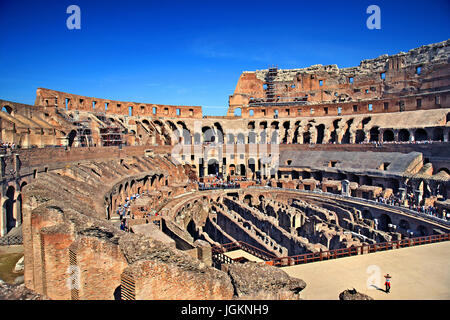 Inside the Colosseum ('Colosseo', also known as the 'Flavian Amphitheatre'), Rome, Italy