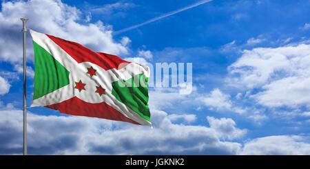 Burundi flag waving on a blue sky background. 3d illustration - Stock Photo