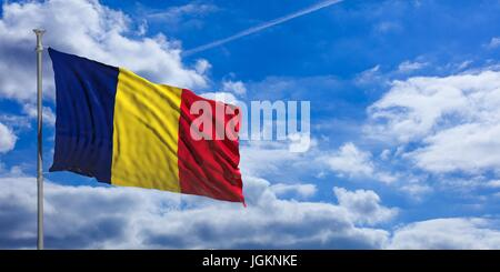 Chad flag waving on a blue sky background. 3d illustration - Stock Photo