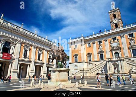 The equestrian statue of Marcus Aurelius at the Piazza del Campidoglio ('Capitoline square'), Rome, Italy. - Stock Photo