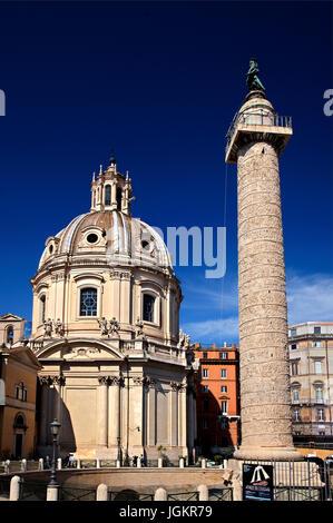 Trajan's Column (Colonna Traiana) is a Roman triumphal column in Rome, Italy, that commemorates Roman emperor Trajan's - Stock Photo