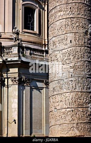 'Detali' of Trajan's Column, a Roman triumphal column in Rome, Italy, that commemorates Roman emperor Trajan's victory - Stock Photo