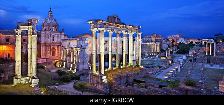 Night falling on the Roman Forum ('Market') of Rome, Italy. View from the Capitoline (Campidoglio) hill. - Stock Photo