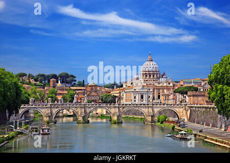 The dome of St Peter's Basilica and Ponte Sant'Angelo, Rome, Italy. - Stock Photo