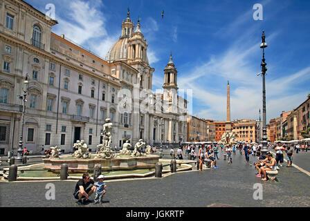 Fontana del Moro (Moor fountain), Piazza Navona, Rome, Italy - Stock Photo
