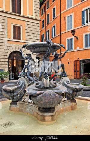 The Fontana delle Tartarughe ('Fountain of the Turtles') at Piazza Mattei, Rome, Italy. - Stock Photo