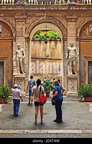 In the courtyard of the Centro Italiano Studi Americani (Italian Center for American Studies), Rome, Italy. - Stock Photo