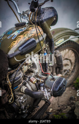 Close-up of an old motorcycle - Stock Photo