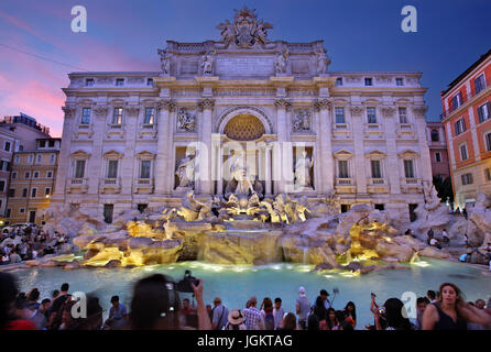 Night falling at Fontana di Trevi, Rome, Italy - Stock Photo