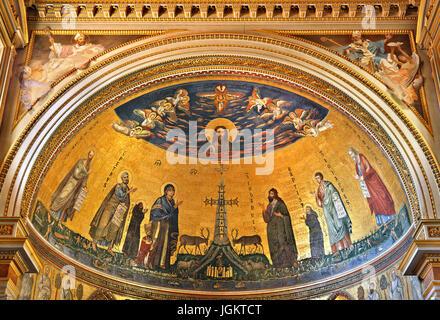 The impressive mosaic on the apse of  the Arcibasilica di San Giovanni in Laterano (Archbasilica of St. John in - Stock Photo