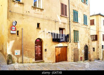 Volterra, Italy - MAY 4, 2017: Street view of Volterra city - Stock Photo