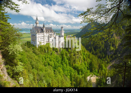 Picturesque nature landscape with Neuschwanstein Castle. Germany. - Stock Photo