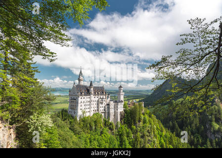 Neuschwanstein, Lovely Summer Landscape Panorama Picture of the fairy tale castle near Munich in Bavaria, Germany - Stock Photo