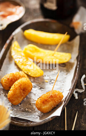 Scampi french fries ketchup - Stock Photo