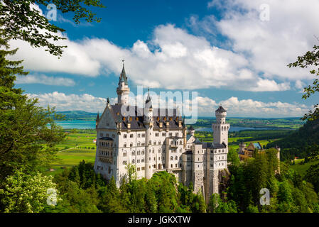 Picturesque landscape with the Neuschwanstein Castle. Germany. - Stock Photo