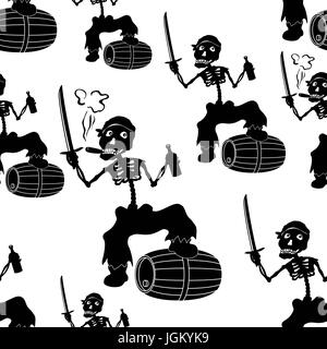 Jolly Roger Skeleton Seamless - Stock Photo