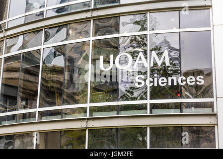Montreal, Canada - May 26, 2017: UQAM Science School in University with glass modern buildings - Stock Photo
