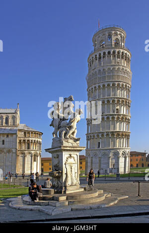 Europe, Italy, Tuscany, Toscana, Pisa, tower, crooked, skew tower, building, architecture, place of interest, landmark, - Stock Photo